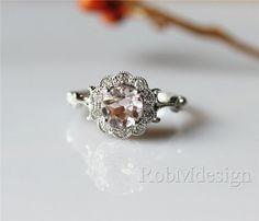 14K White Gold Vintage Floral Sharp VS 6mm Round Cut by RobMdesign