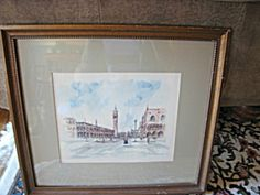 Signed framed watercolor, Scenes of Venice, for sale at More Than McCoy at http://www.morethanmccoy.com