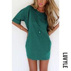 #AdoreWe #Luvyle Luvyle Roll Up Sleeve Plain Casual Dresses - AdoreWe.com