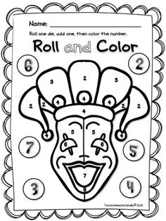 Mardi Gras Color by Number from MakingLearningFun.com