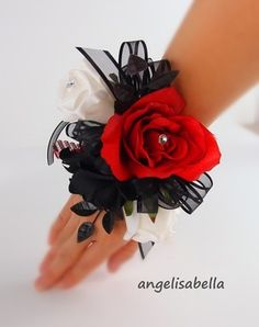 Wrist Corsage Red,Black,Prom Wedding bridal silk flowers Party dance marine