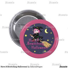 Have A Bewitching Halloween! Button #cats #halloween #blackcat #witch #magic