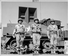 """The Ghost Army was a unit of eleven hundred men hand-picked from New York and Philadelphia art schools and given a unique mission: to impersonate U.S. Army units to deceive the enemy. From a few weeks after D-Day, they put on a """"travelling road show"""" in France with inflatable tanks and fake radio transmissions. Here's a photo of three ghost soldiers with a 500-pound speaker, playing the sounds of an army on the move that could be heard twenty kilometres away."""