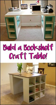 Build an easy craft table from bookshelves! Do you need one of these in your home?