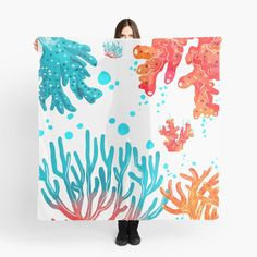 """""""Colorful underwater Coral"""" Scarf by Coral Scarf, Coral Design, Scarf Design, Underwater, Colorful, Beautiful, Art, Coral, Art Background"""