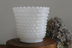 Vintage Hobnail Milk Glass Planter