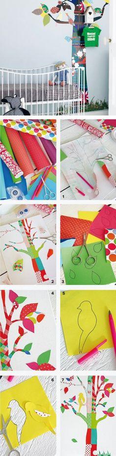 Zelfmaakboom, knippen & plakken maar: http://www.101woonideeen.nl/zelfmaken/stappenplan-behangboom.html