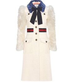 GUCCI Shearling-trimmed cotton, mohair and alpaca coat. #gucci #cloth #coats