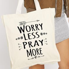 Worry Less Pray More Tote Bag - Pacific Coast Outlet