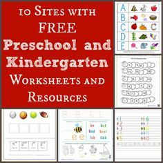 10 Sites with Free Preschool & Kindergarten Worksheets & Resources- no downloading required (all of them can be printed/used directly from the sites)