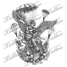 Michael Angel Tattoos on St Michael Archangel Tattoo Outline St. Michael Tattoo, Archangel Michael Tattoo, Archangel Gabriel, Army Tattoos, Military Tattoos, Wolf Tattoos, Sleeve Tattoos, Airborne Tattoos, Wolf Outline