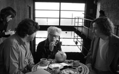 Jim Jarmusch with Alfred Molina and Steve Coogan on the set of Coffee and Cigarettes.