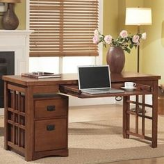 Kathy ireland Home by Martin Furniture - Mission Pasadena Office Collection Laptop / Writing Desk in Mission Home Desk, Home Office Desks, Home Office Furniture, Furniture Ideas, Office Chairs, Furniture Design, Desk With Keyboard Tray, Laptop Desk, Martin Furniture