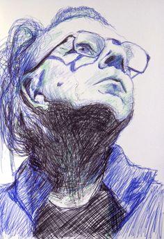 Ballpoint pen portrait by Mags Phelan.