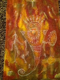 'Our Ancestors' Hand painted Silk Chiffon Scarf on StarlitSkies.Etsy.com