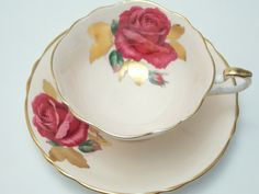 Paragon Vintage Fine Bone China Tea Cup and Saucer Made in England Signed R. Johnson Peach Ground Large Red Rose Gold Leaves Trim-1950s