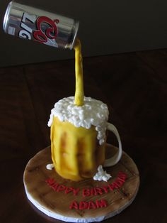 Gravity defying cake, beer can cake.