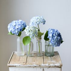 Blue Hydrangea Centerpieces, Hydrangea Vase, Hydrangea Arrangements, Artificial Floral Arrangements, Flower Arrangements Simple, Little Flowers, Fake Flowers, Dried Flowers, Fresh Flowers