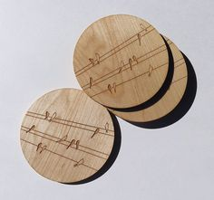 Wood Coasters Engraved Wood Coasters Birds on Wire by GrainDEEP - I love birds on wires.  Christmas, birthday gift hint hint.