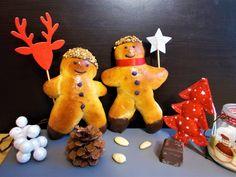 Mannele à l'amande - Toque de choc C'est Bon, Toque, Gingerbread Cookies, 3, Christmas Ornaments, Pain, Holiday Decor, Voici, Biscuits