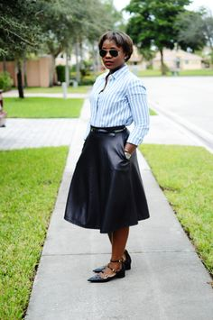 Very cool leather-look midi skirt with Valentino-inspired flats.i especially love the flats. would trade the shirt for plain white though