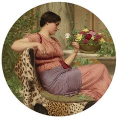 John William Godward The Time of Roses painting, oil on canvas & frame; John William Godward The Time of Roses is shipped worldwide, 60 days money back guarantee. John William Godward, Hieronymus Bosch, Lawrence Alma Tadema, Tile Murals, Pre Raphaelite, Paintings For Sale, Vintage Paintings, Romantic Paintings, Indian Paintings