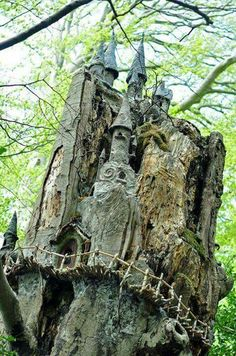 """This is the Fairy Tree from Marley Park in Dublin Ireland. It is an old dead tree which was turned into a fairy castle by some, unknown genius*(see below.) One day he installed a tiny little door at the bottom of the tree. Then slowly over time he added Oh The Places You'll Go, Places To Travel, Places To Visit, Ireland Vacation, Ireland Travel, Fairy Tree, Voyage Europe, Fairy Houses, British Isles"