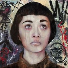 Lita Cabellut - Dried Tear 33, 2013 -  Mixed media on canvas (150 x 150 cm)