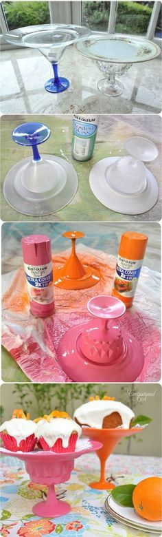 Dollar store plates and cups turned into a cupcake stand.