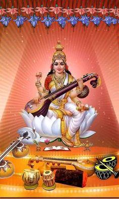 Saraswati Vandana, Saraswati Mata, Saraswati Statue, Saraswati Goddess, Shiva Shakti, Krishna Hindu, Hindu Deities, Radhe Krishna, Saraswati Picture