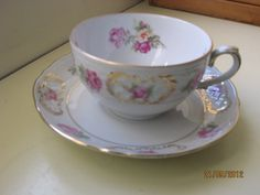 Schumann Germany tea cup Porcelain Gold Trim Pink Roses