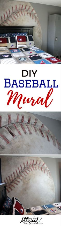 DIY Baseball Mural for Teen's Room - How to paint a baseball mural by Jennifer Allwood of theMagicBrushinc.com | Mural Painting Tips