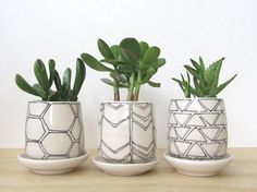 Set Of Three Small Black and White Geometric Planters. Modern. Handmade porcelain planters with drainage holes and dishes. MADE TO ORDER.