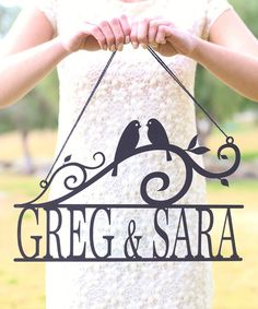 Look at this #zulilyfind! Unfinished Wood Personalized Love Birds Wall Sign #zulilyfinds