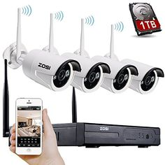 ZOSI 4PCS Megapixel 720P Wireless Outdoor IP Camera System 100ft (30m) Night vision with 4 Channel Security 960P HD Network IP NVR Wifi Kit Support Smartphone Remote view with 1TB Hard disk