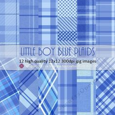 LIttle Boy Blue Plaid 12 Ways by Lisa Mayette A set of 12 high quality 12x12 300dpi jpg images using LIttle Boy Blue from Pantone's UK & NY…