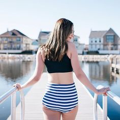 Tankini Top $42.50 Stripe Bottoms $32.50 www.kingdomandstate.com #retro #retroswim #retroswimwear #highwaist #highwaistbottoms