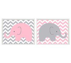 Elephant Nursery Wall Art  Light Pink Gray por RizzleandRugee