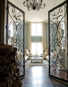 Lovely garden gate doors instead of French doors inside.