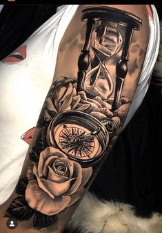 Arm Sleeve Tattoos For Women, Dope Tattoos For Women, Half Sleeve Tattoos Designs, Forearm Sleeve Tattoos, Full Sleeve Tattoos, Clock And Rose Tattoo, Tattoo Familie, Hourglass Tattoo, Watch Tattoos