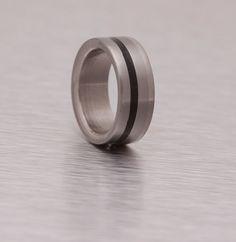 titanium ring with ebony wood stripe woman  men wedding band wood inlay