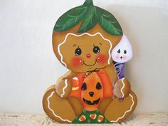 HP Gingerbread Halloween pumpkin ginger SHELF SITTER hand painted USA