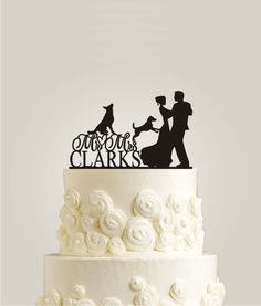 Rustic Cake Topper With Two Dogs Mr and Mrs by LaserDesignShop