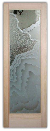 Etched Carved Glass Door