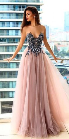 strapless long prom dress,sexy evening dress with tulle 2018