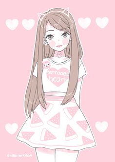 Imagem de anime, kawaii, and shiroi room tyus is me but I have pink highligters