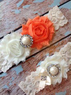 ORANGE   wedding garter set / bridal  by FallenStarCoutureInc