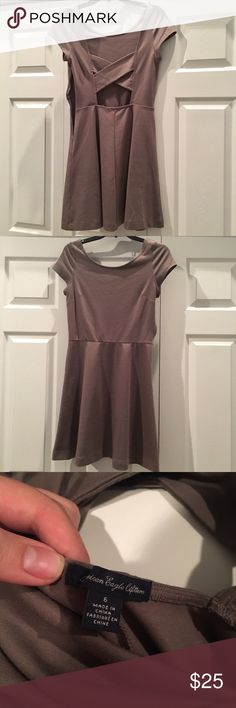 AE tan/gray dress flowy skirt bottom AE tan/gray open back x design dress. Fitted on top and flowy A dress. American Eagle Outfitters Dresses Asymmetrical