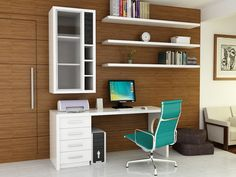Office: Astonishing Home Office Ideas Photos With White Office Desk And Green Swivel Chair Also Computer With Printer And Glass Cabinet Plus Wall Shelves For Books And Wooden Wall With Ceramic Floor, home office ideas one photo, modern home office desk ~ klozmode.com