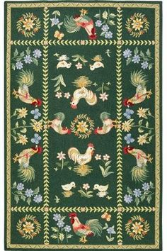 Home Decorators Collection Sping on the Farm Hunter Green 2 ft. 6 in. x 4 ft. Accent Rug 3257103660 - The Home Depot Country Rugs, Kitchen Area Rugs, Hand Hooked Rugs, Rug Hooking, Hunter Green, Floor Rugs, Wool Rug, Whimsical, Rooster Rug